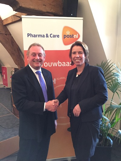 Nick Pople (Pauwels Consulting) and Andrea Siteur (PostNL) at the PostNL GDP Masterclass in Antwerp