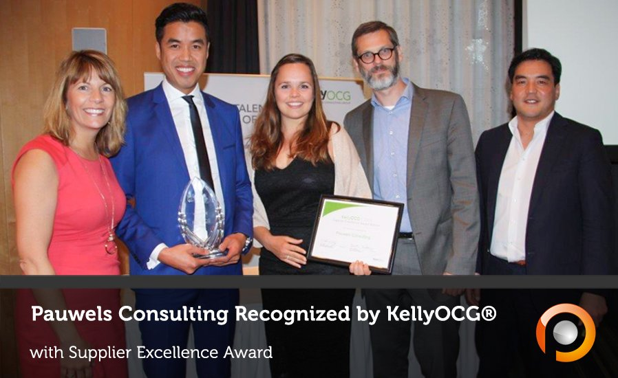 Pauwels Consulting recognized by KellyOCG as op Supplier - Supplier Excellence Award 2016 - Pauwels Consulting - S