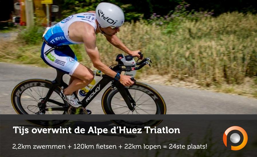 Tijs overwint Alpe DHuez Triatlon